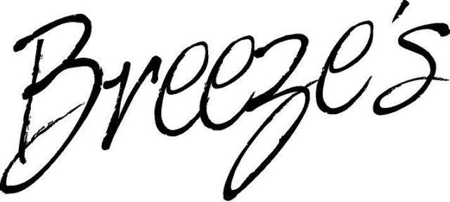 BREEZES logo in black italics on white background