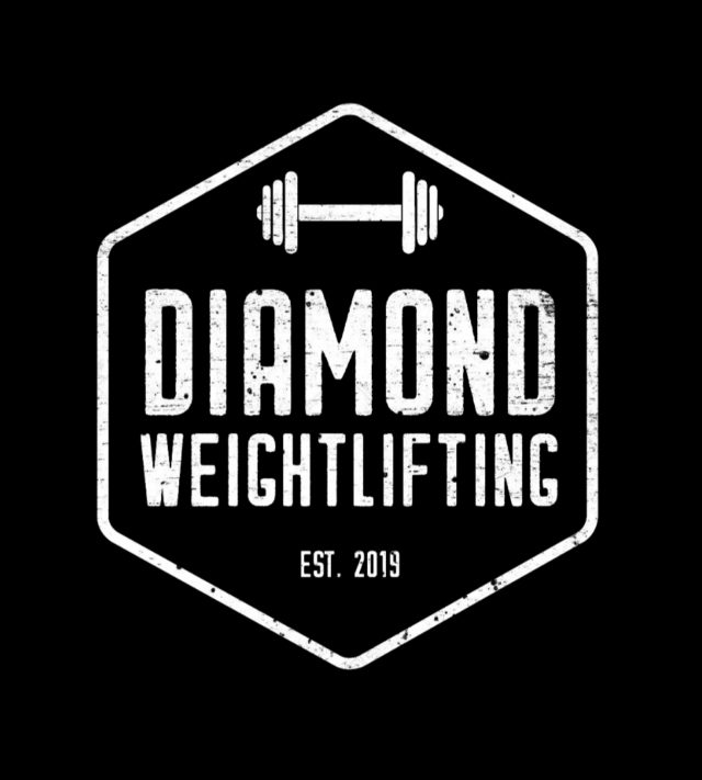 Diamond Weightlifting Logo in a diamond shape, white writing and dumbbell image
