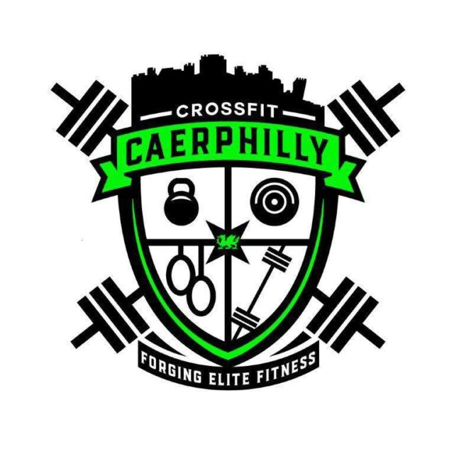 Crossfit caerphilly logo in black and green, a badge with weightlifting equipment, weightlifting bars and a green banner