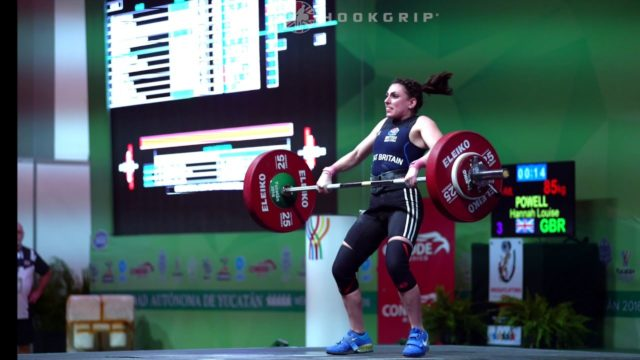 Hannah Powell clean and jerk 85kg in competition