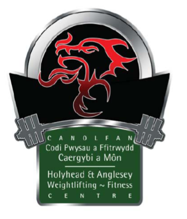 Hawfc logo, red dragon on black background above a silver weightlifting bar, and green badge with white writing