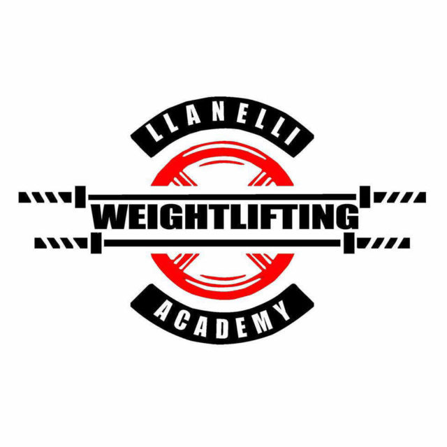 Llanelli weightlifting academy logo, in red and black, with weightlifting bars in black and a red disk